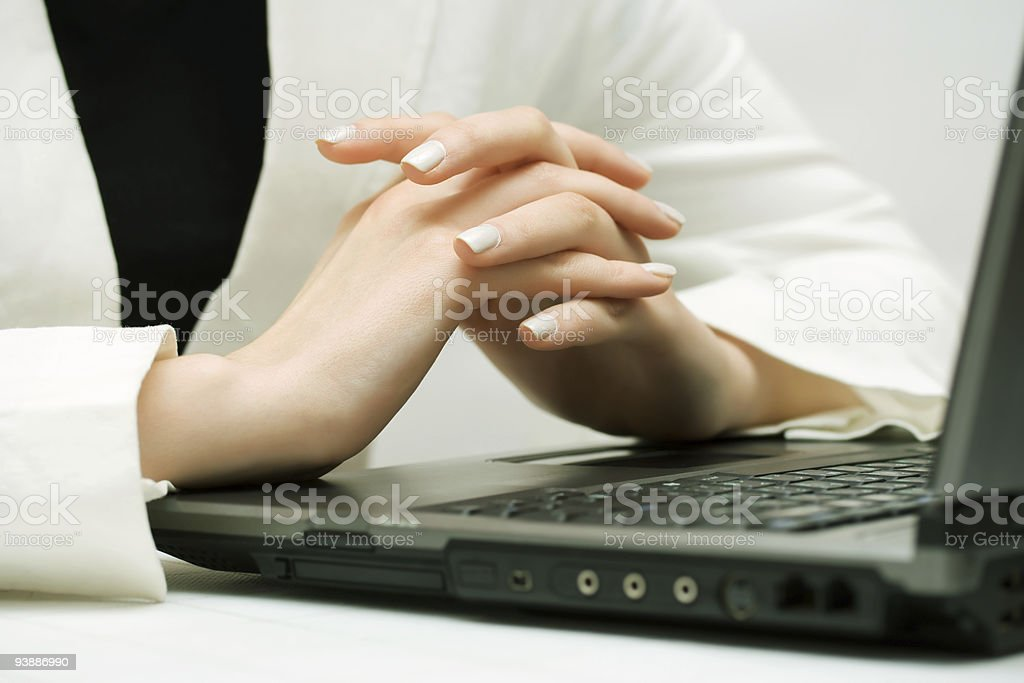 Female hands working on laptop royalty-free stock photo