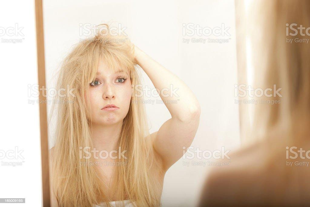 Female Having Bad Hair Day royalty-free stock photo