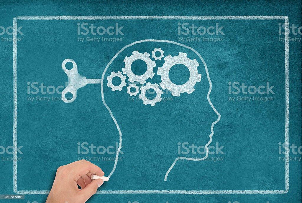 Female Head Shape on blue Blackboard stock photo