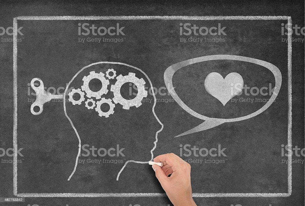 Female Head Shape with Speech Bubble Heart Shape on Blackboard stock photo
