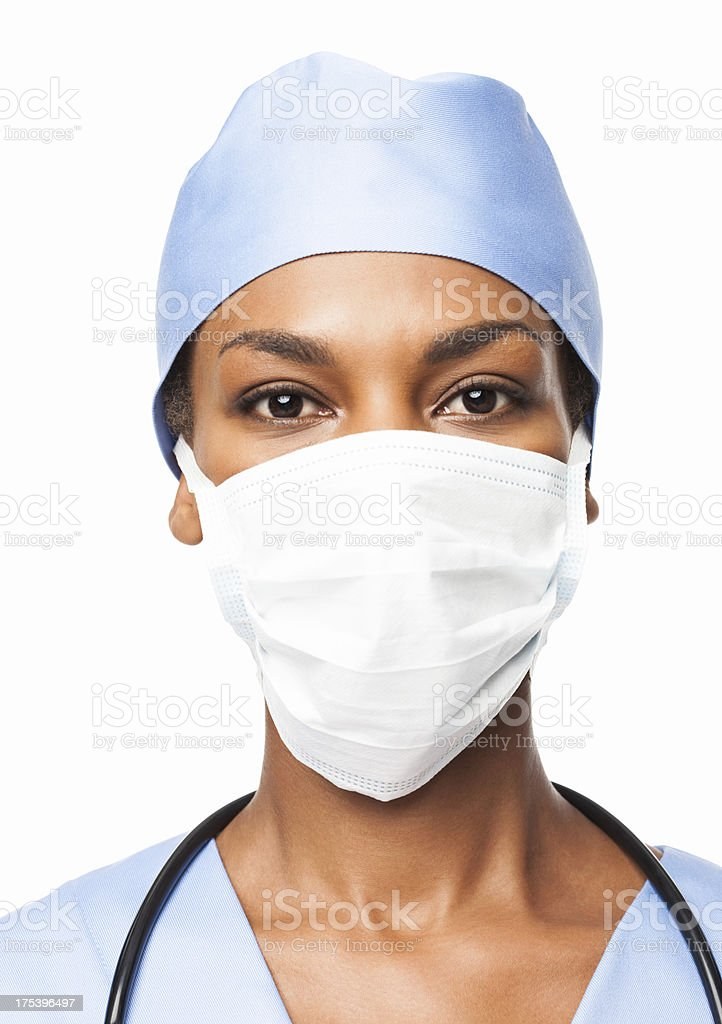 Female Healthcare Professional In a Surgical Mask - Isolated royalty-free stock photo