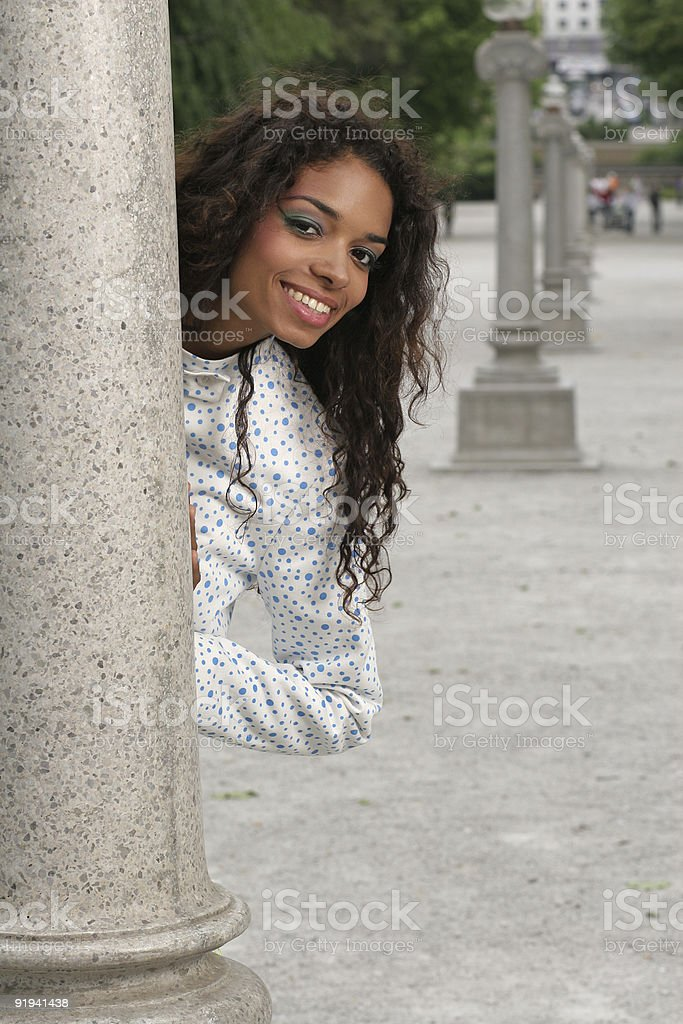 Female hiding stock photo
