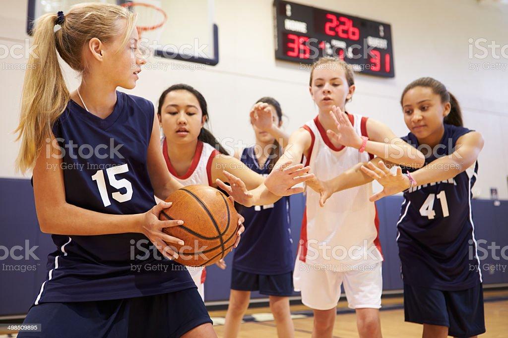 Female High School Basketball Team Playing Game In Gym