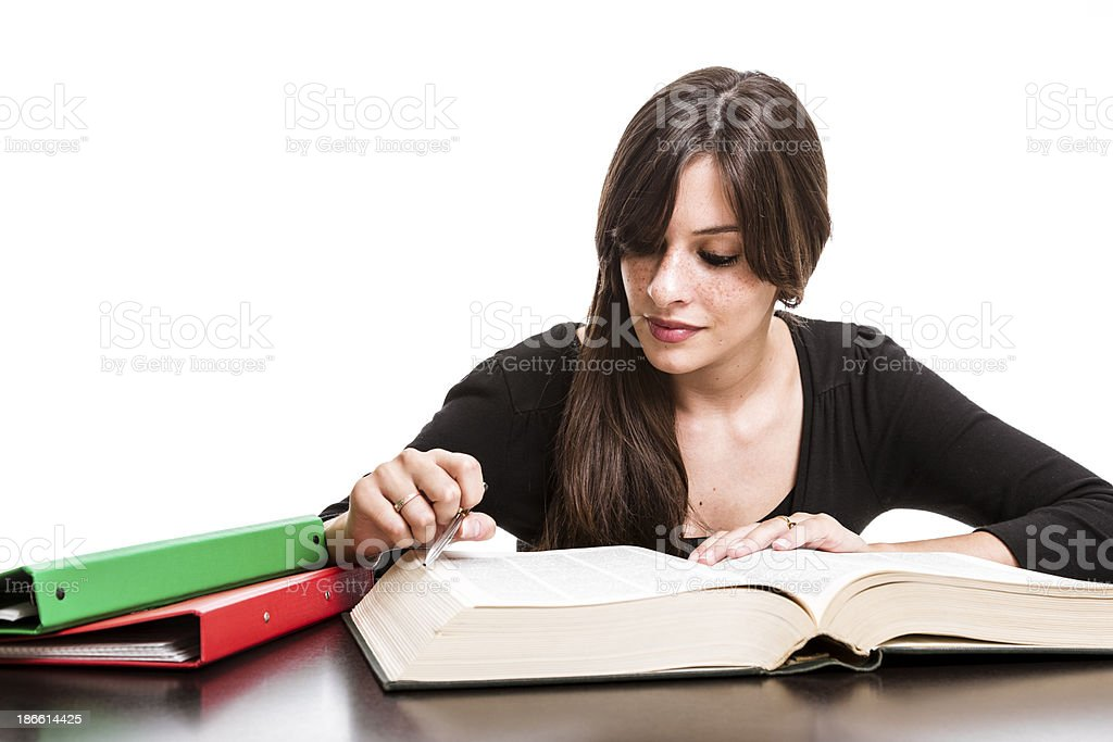 Female high school student making notes royalty-free stock photo