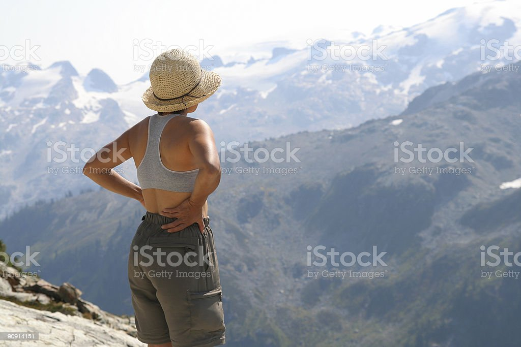 Female Hiker Above Callaghan Valley royalty-free stock photo