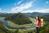 Female hiker at Rijeka Crnojevica, Montenegro