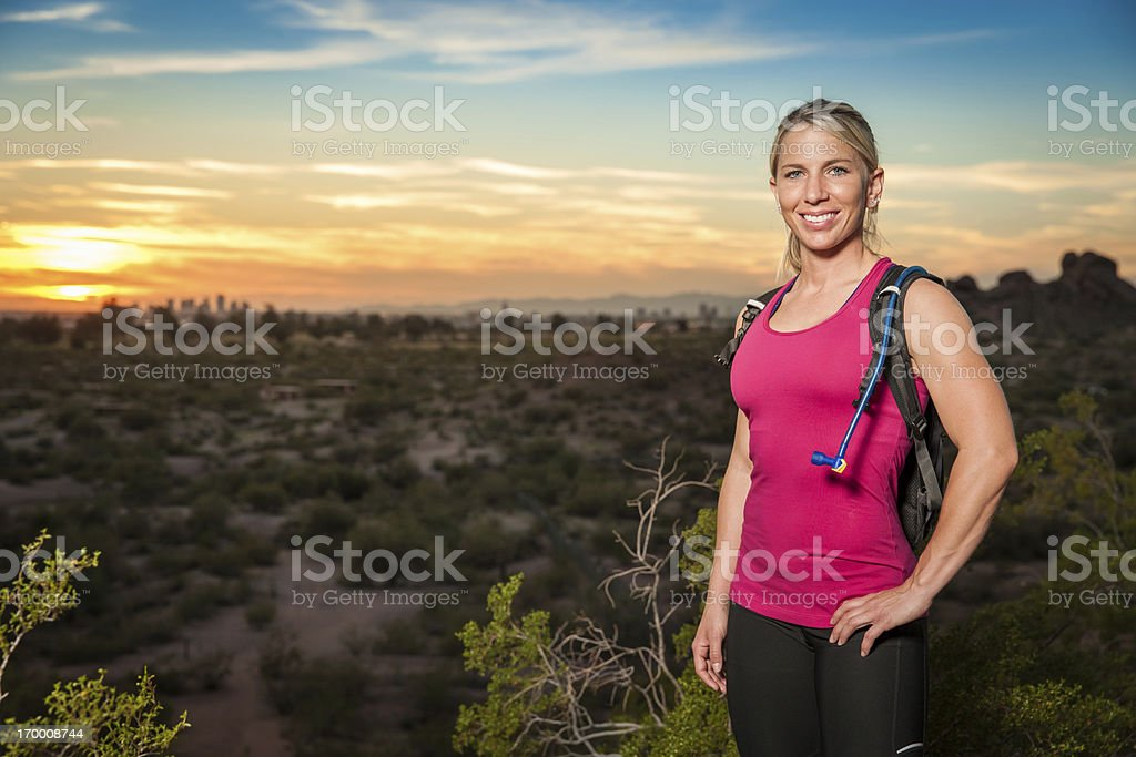 Female Hiker at Sunset royalty-free stock photo