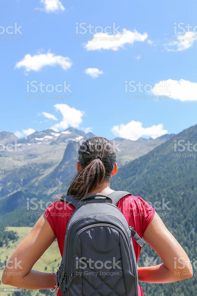 female hiker enjoying the view stock photo