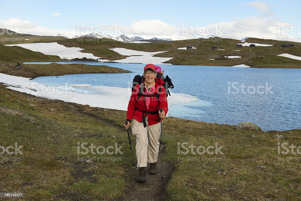 Female hiker in Lapland royalty-free stock photo