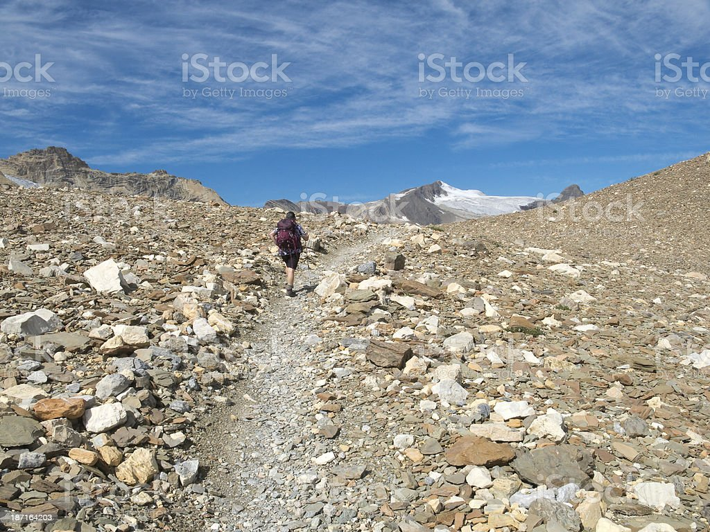 Female Hiker in Mountains stock photo