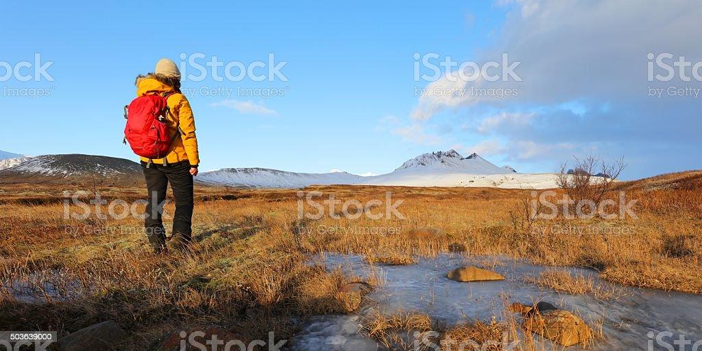 Female Hiker in Skaftafell National Park Iceland stock photo