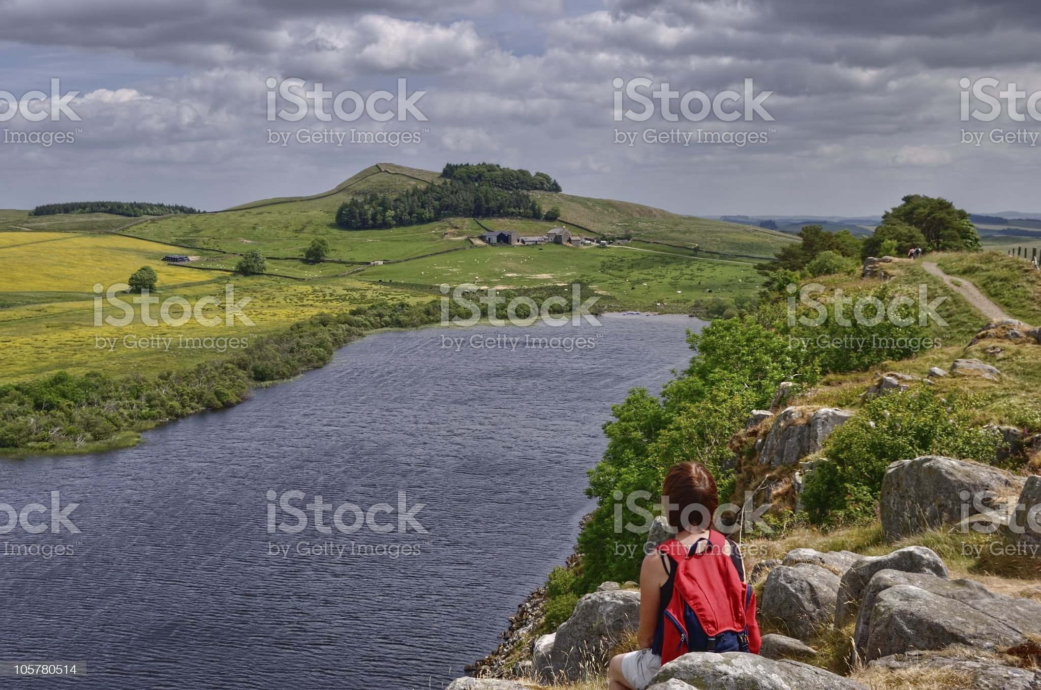 Female Hiker on Hadrian's Wall royalty-free stock photo