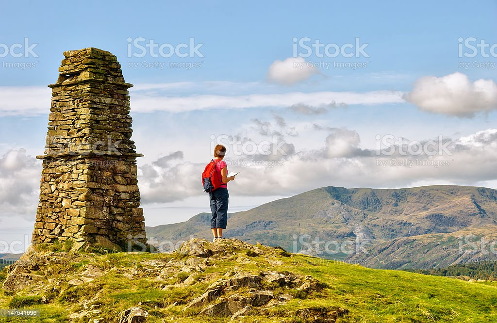 Female hiker on mountain summit royalty-free stock photo