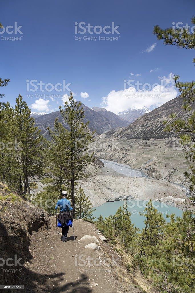 Female hiker on the Annapurna trek in Nepal royalty-free stock photo
