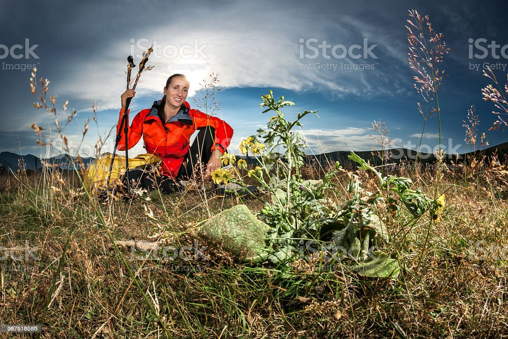Female hiker outdoors stock photo