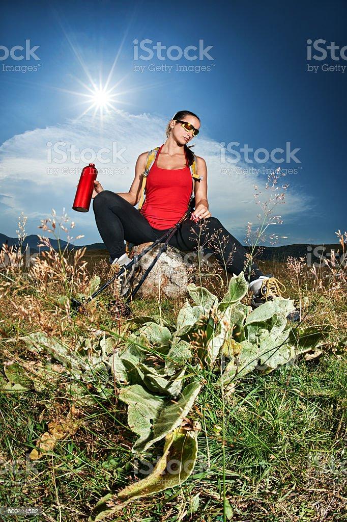 Female hiker outdoors stock photo