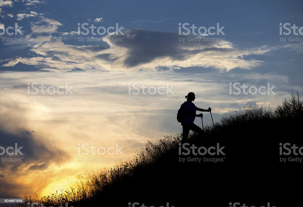 Female hiker stock photo
