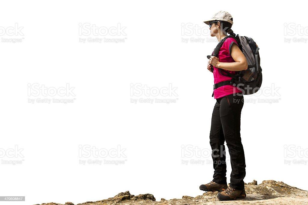 Femme randonneur avec sac à dos isolé. photo libre de droits