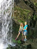 Female Hikers, Grotto Falls Waterfall, Smoky Mountain National Park, Tennessee