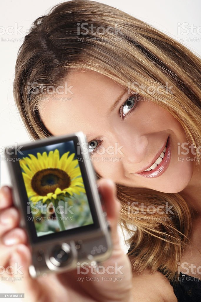 Female holds Digital Camera to show captured Sunflower Picture stock photo