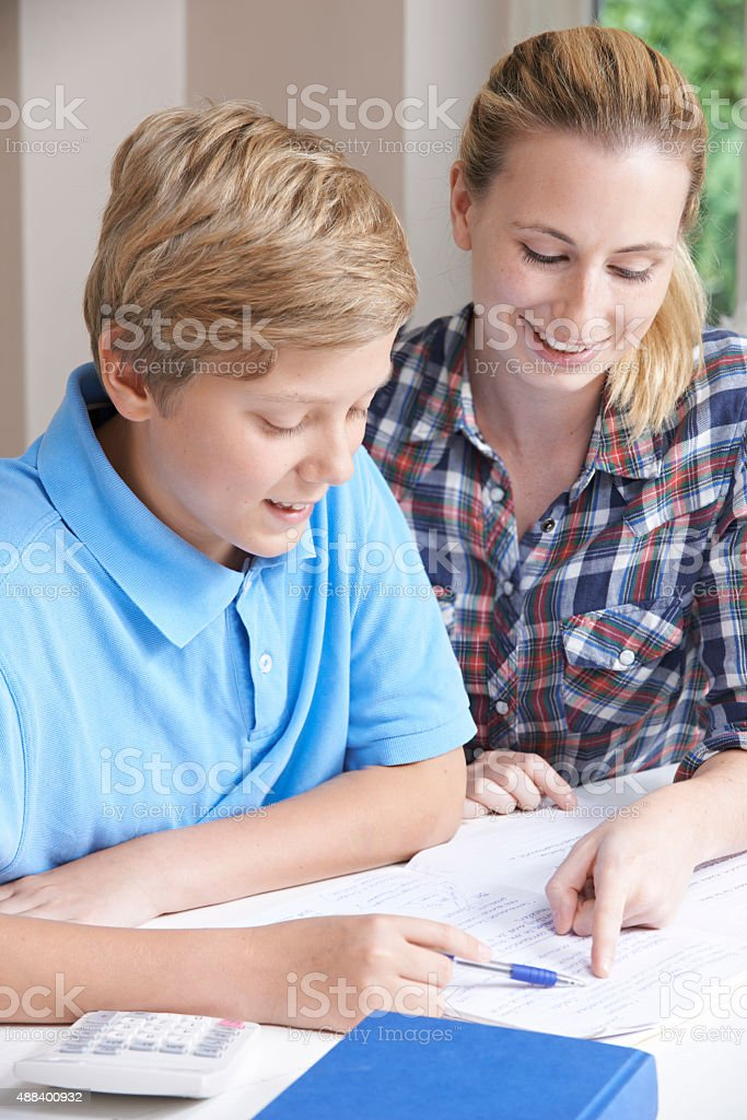 Female Home Tutor Helping Boy With Studies stock photo