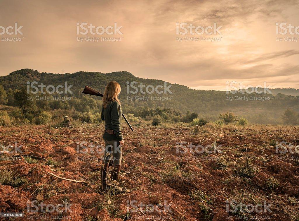 Female hunter stock photo
