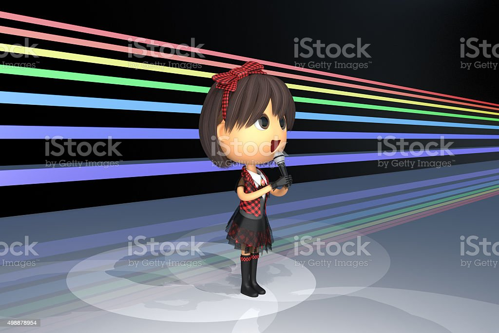 Female idol singer at the stage stock photo