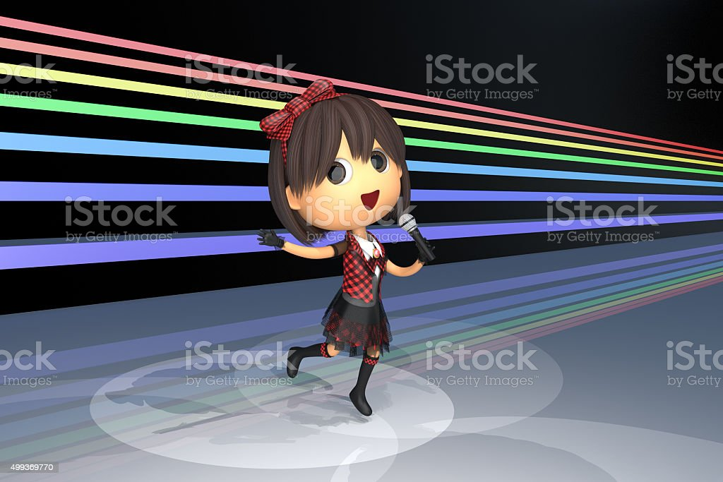 Female idol singer who sings while dancing on stage stock photo