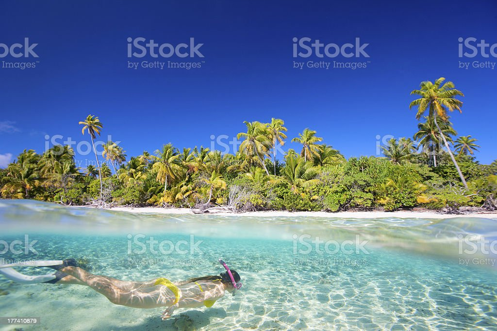 A female in a bikini swimming in clear ocean paradise stock photo