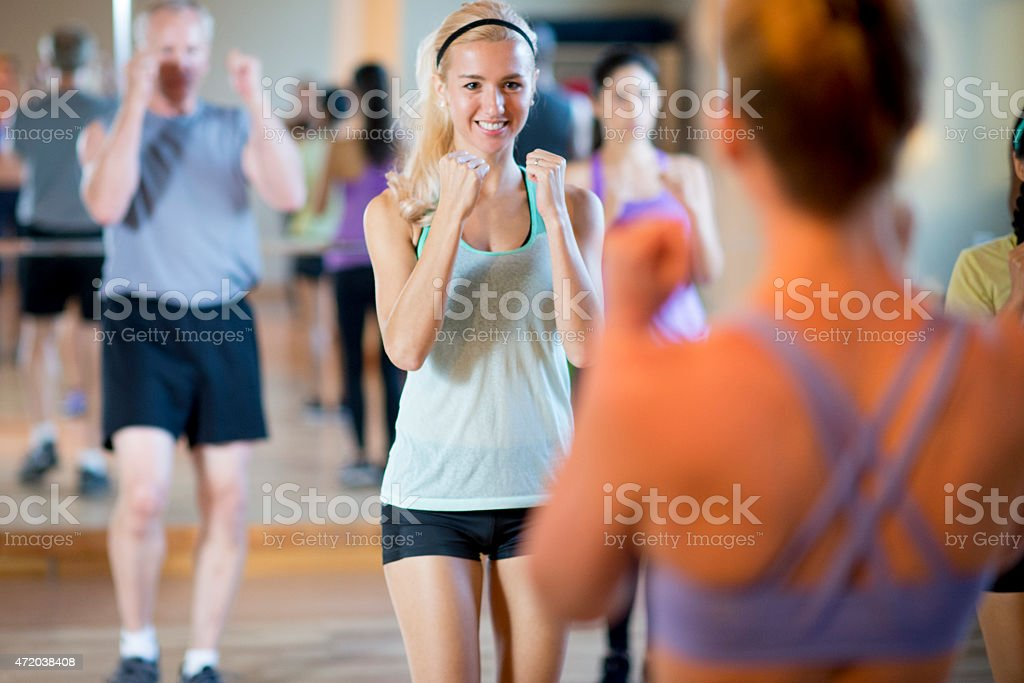 Female in Fitness Class stock photo
