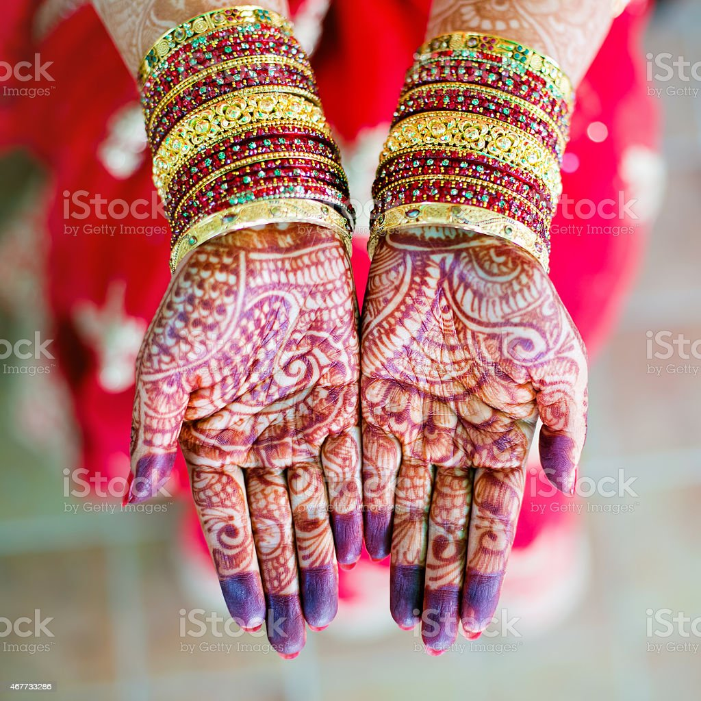 Female, Indian open-palm hands display henna wedding design stock photo