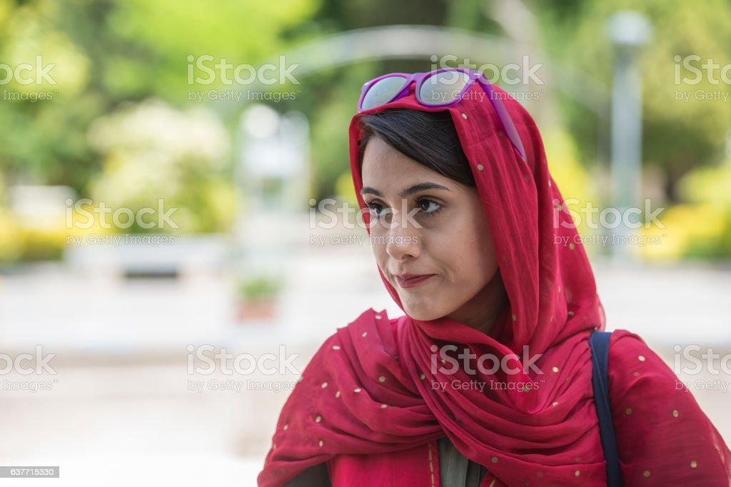 Female iranian tourguide wearing a headscarf, Yazd, Iran stock photo