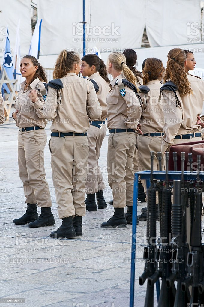 Female Israeli air force cadets stock photo