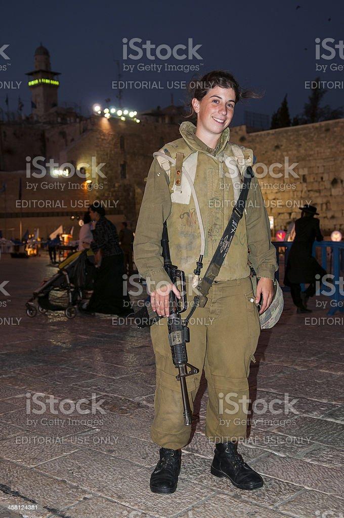 Female Israeli soldier in Jerusalem stock photo