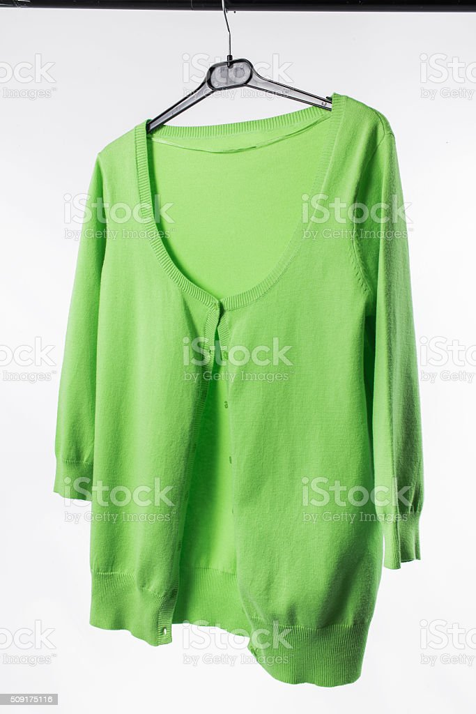 Female jacket on hanger stock photo