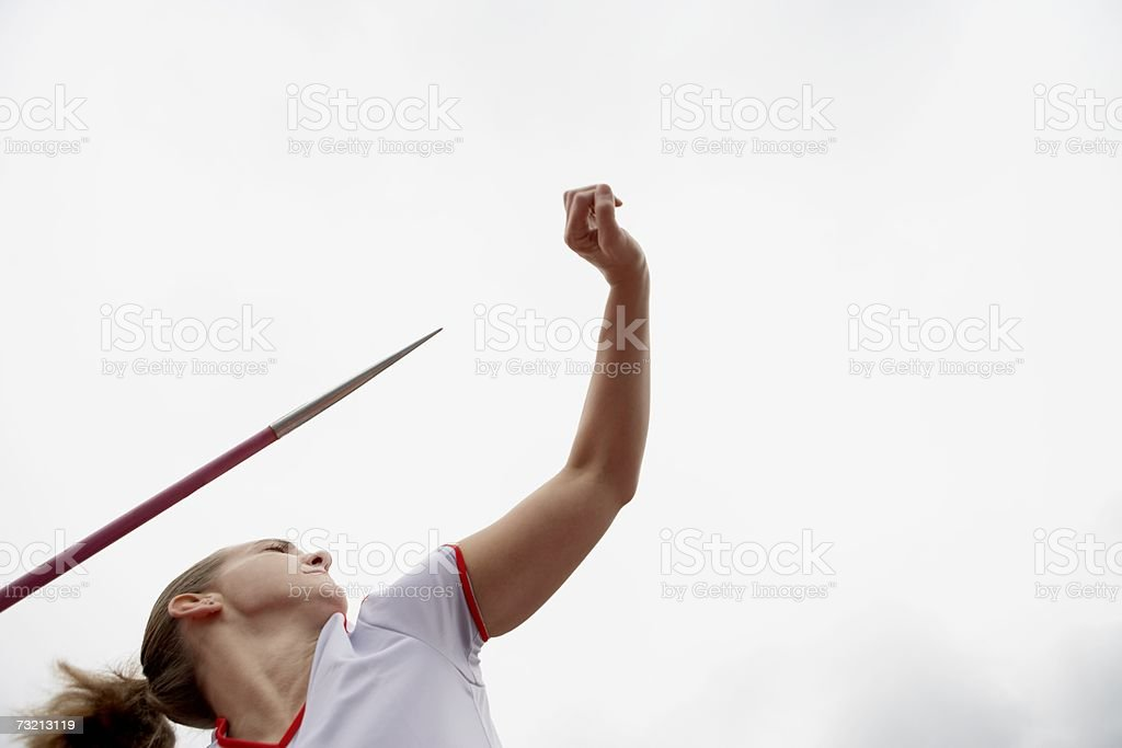 Female javelin thrower stock photo
