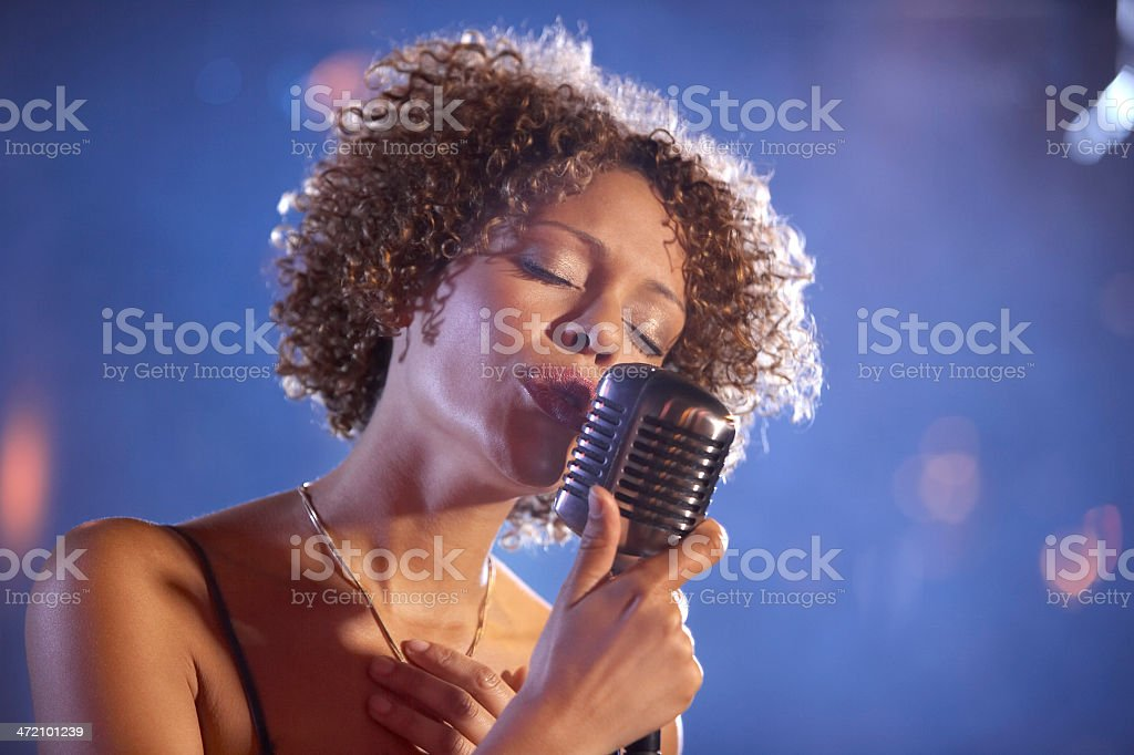 Female Jazz Singer On Stage stock photo