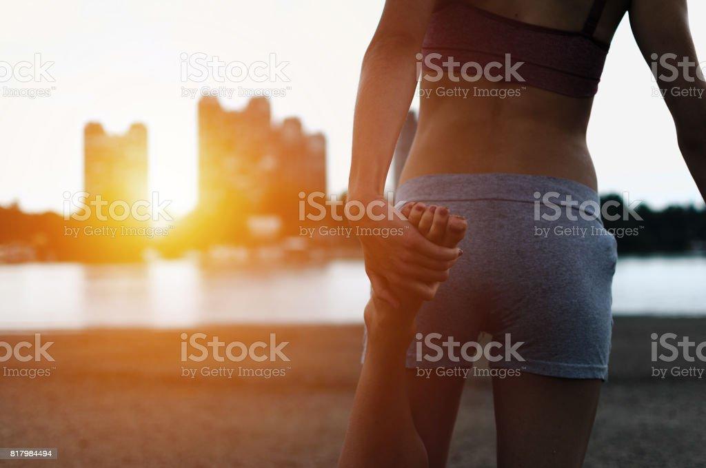 female jogger or runner loving sport stock photo