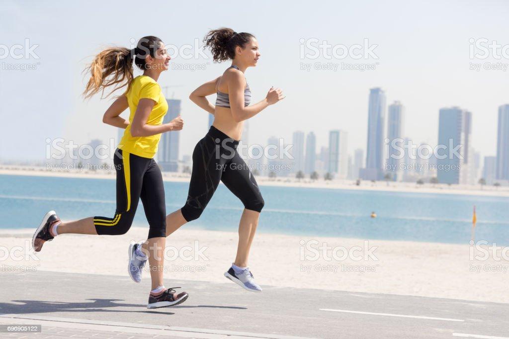 Female joggers stock photo