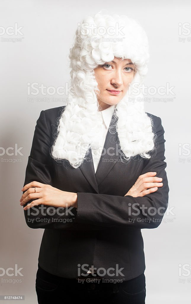 Female judge wearing a wig stock photo