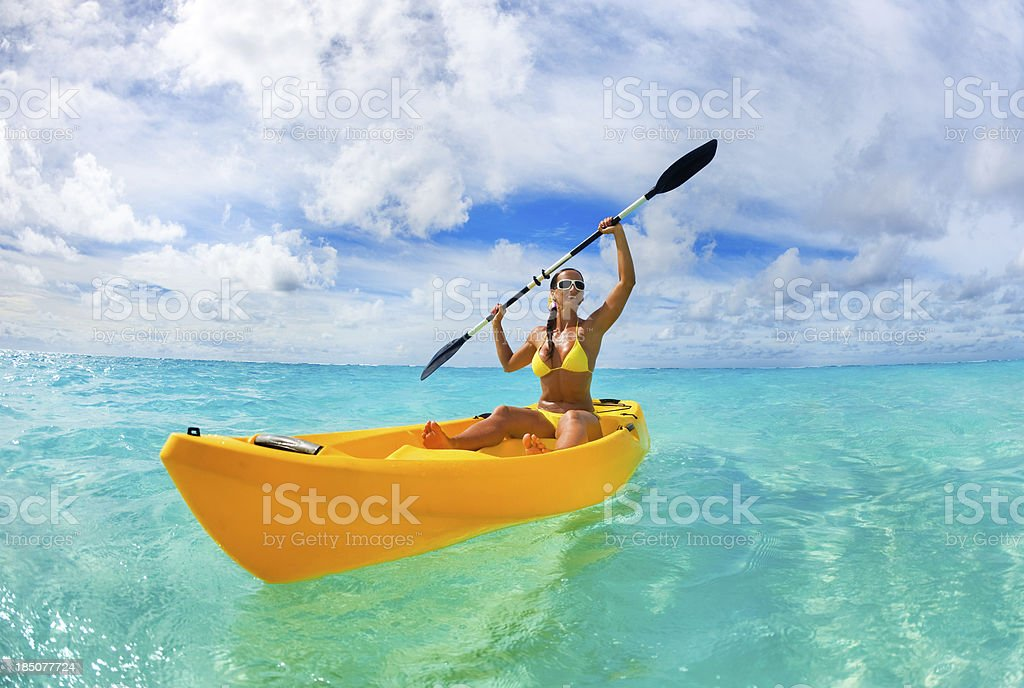 Female kayaker stock photo
