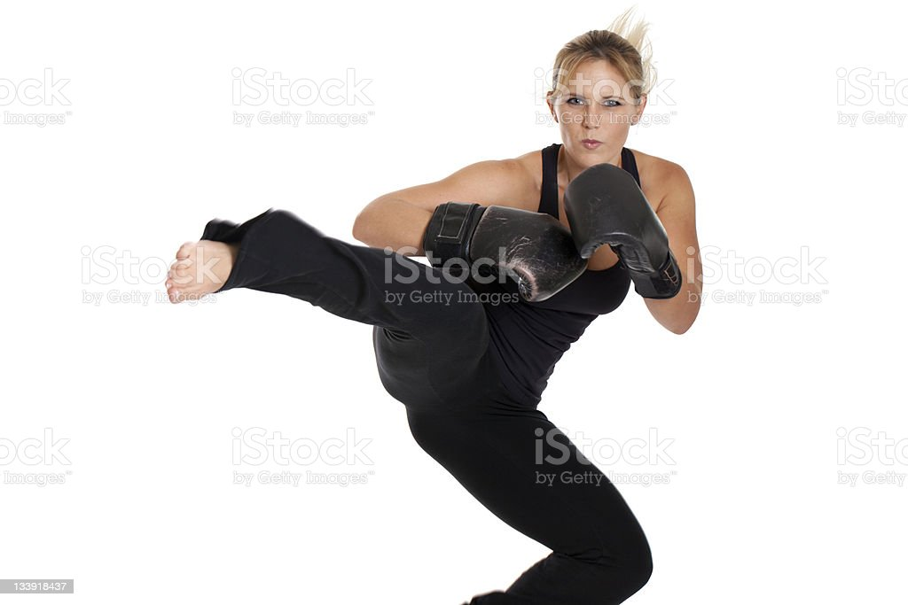 Female Kickboxer royalty-free stock photo