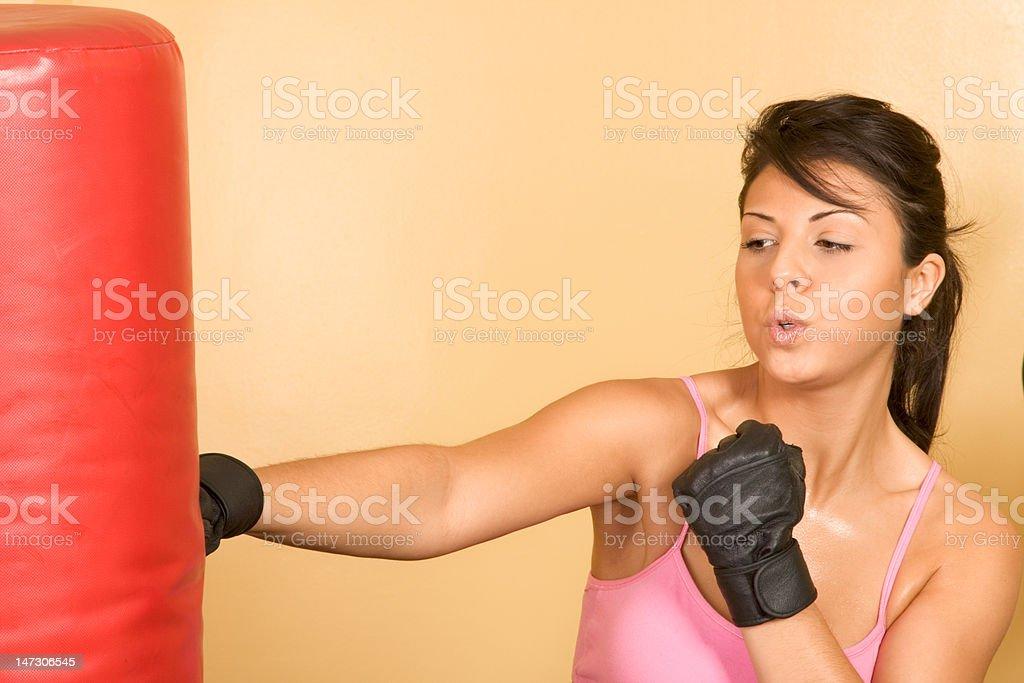 Female kickboxing exercise royalty-free stock photo