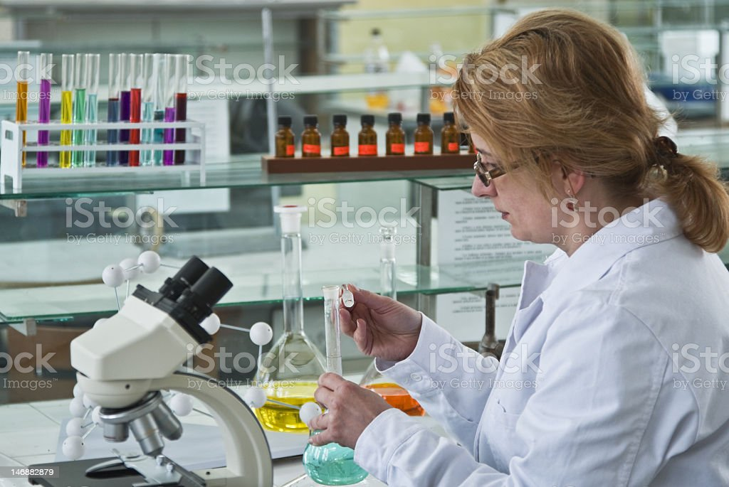 Female lab researcher or scientist stock photo