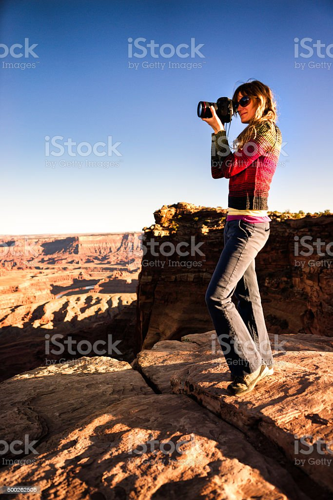 Female Landscape Photographer stock photo
