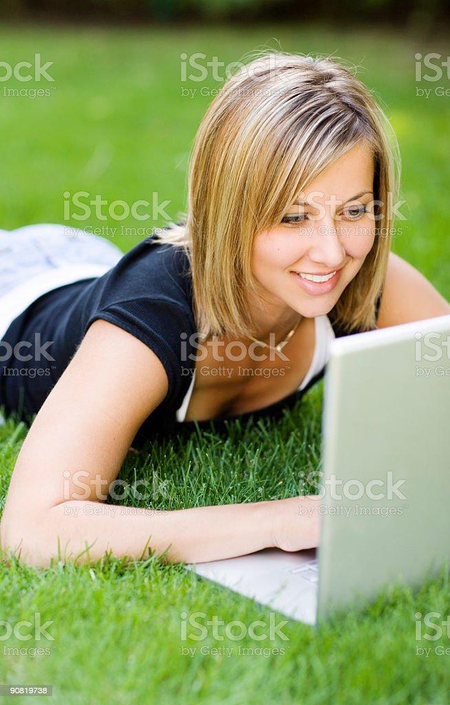 Female / Laptop stock photo