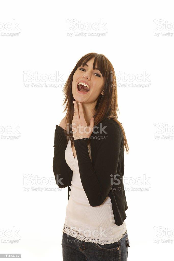 Female laughing on white background royalty-free stock photo