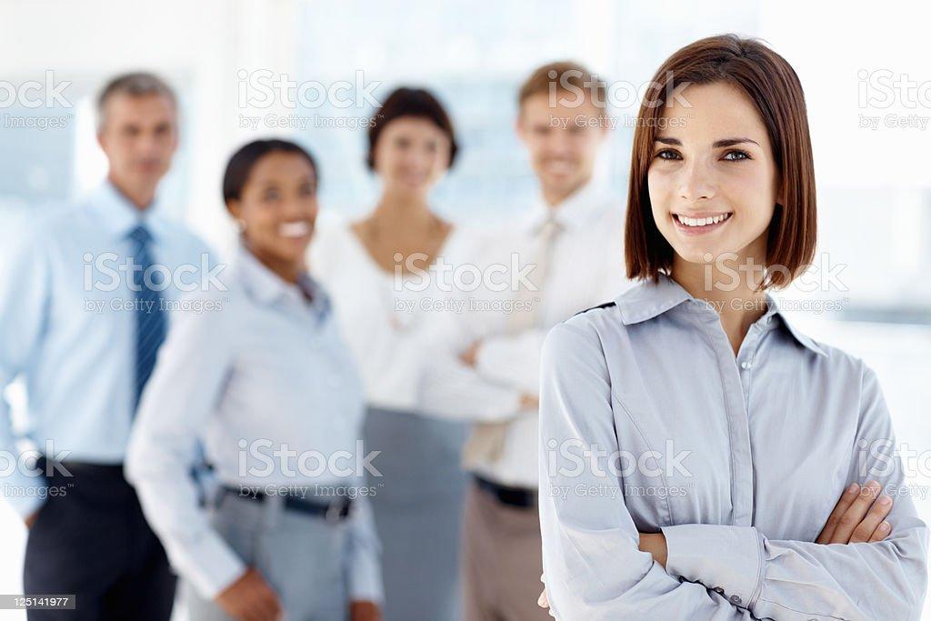 Female leader leading team royalty-free stock photo