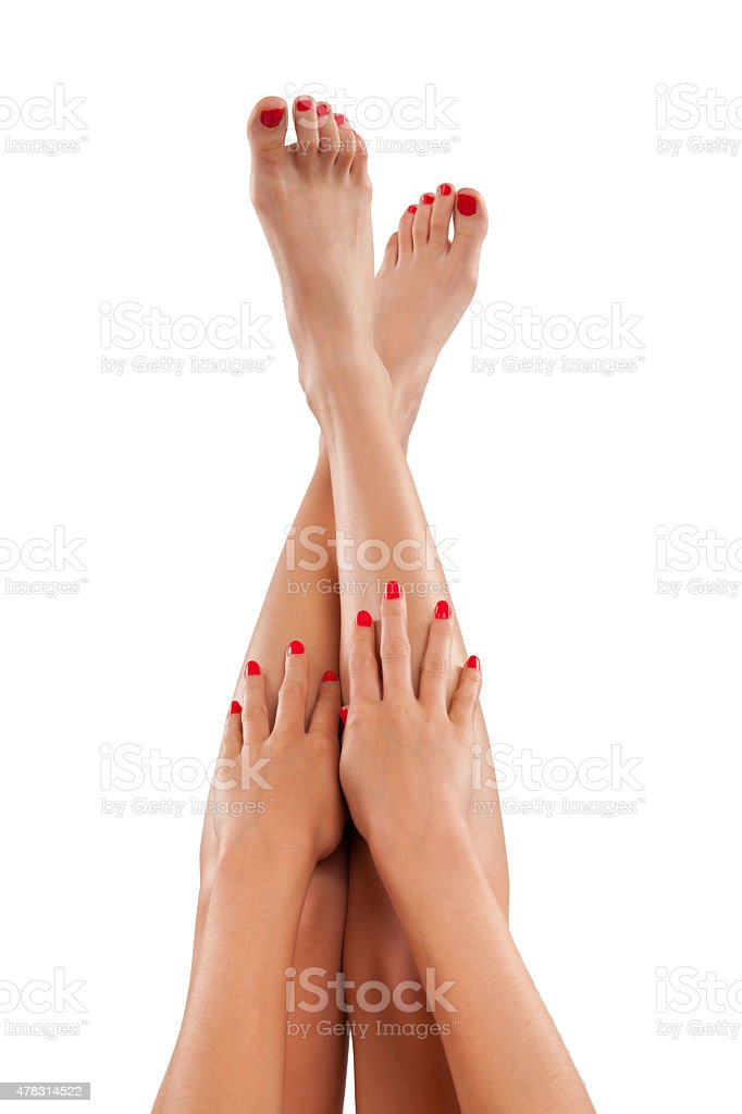 Female legs and hands, isolated on white stock photo