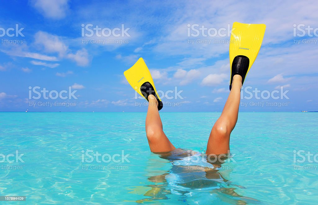 Female legs with flippers in the sea. stock photo